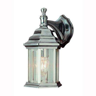 Pentagon 1-Light Brushed Nickel Outdoor Coach Lantern with Clear Glass