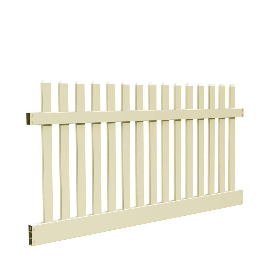 Kettle Straight 4 ft. H x 8 ft. W Sand Vinyl Un-Assembled Fence Panel