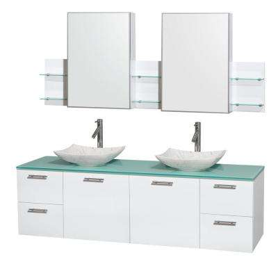 Amare 72 in. Double Vanity Cabinet in Glossy White with Glass Top in Green, Marble Sinks and Medicine Cabinet
