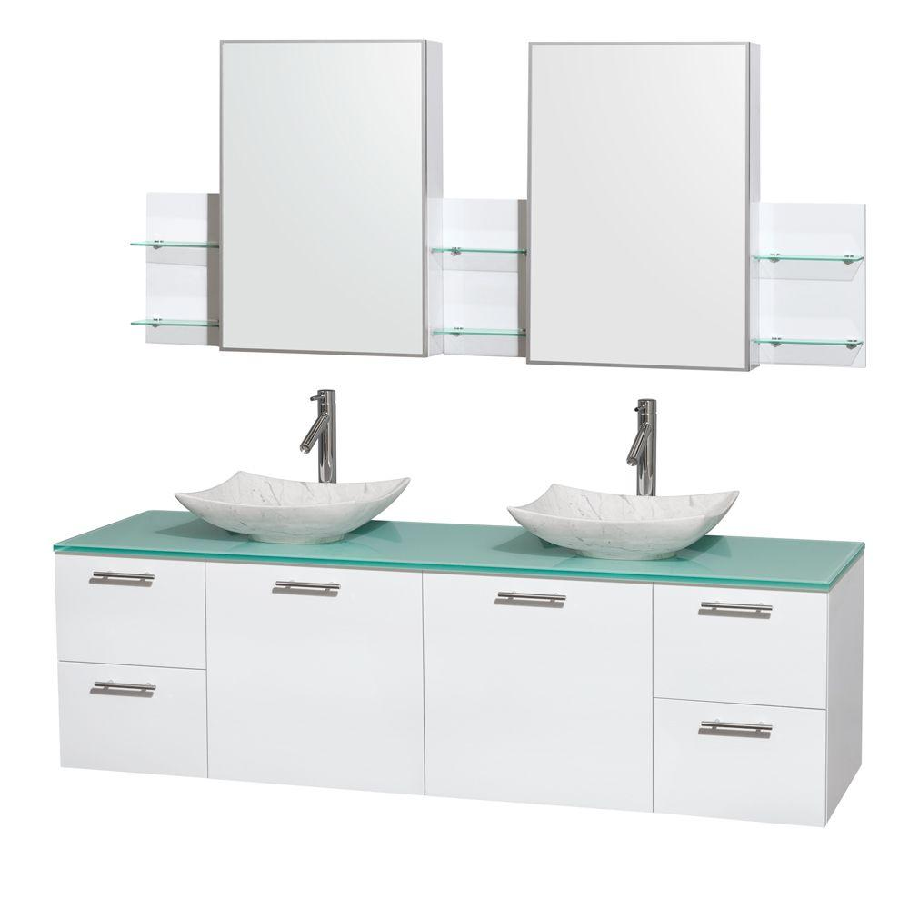 Wyndham Collection Amare 72 in. Double Vanity Cabinet in Glossy ...