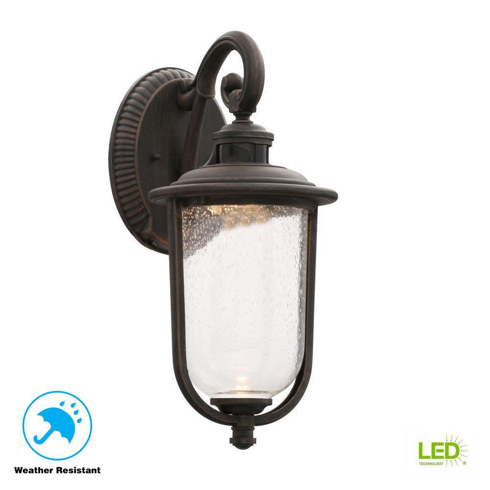 Perdido Rust Outdoor LED Motion Sensor Wall Mount Lantern