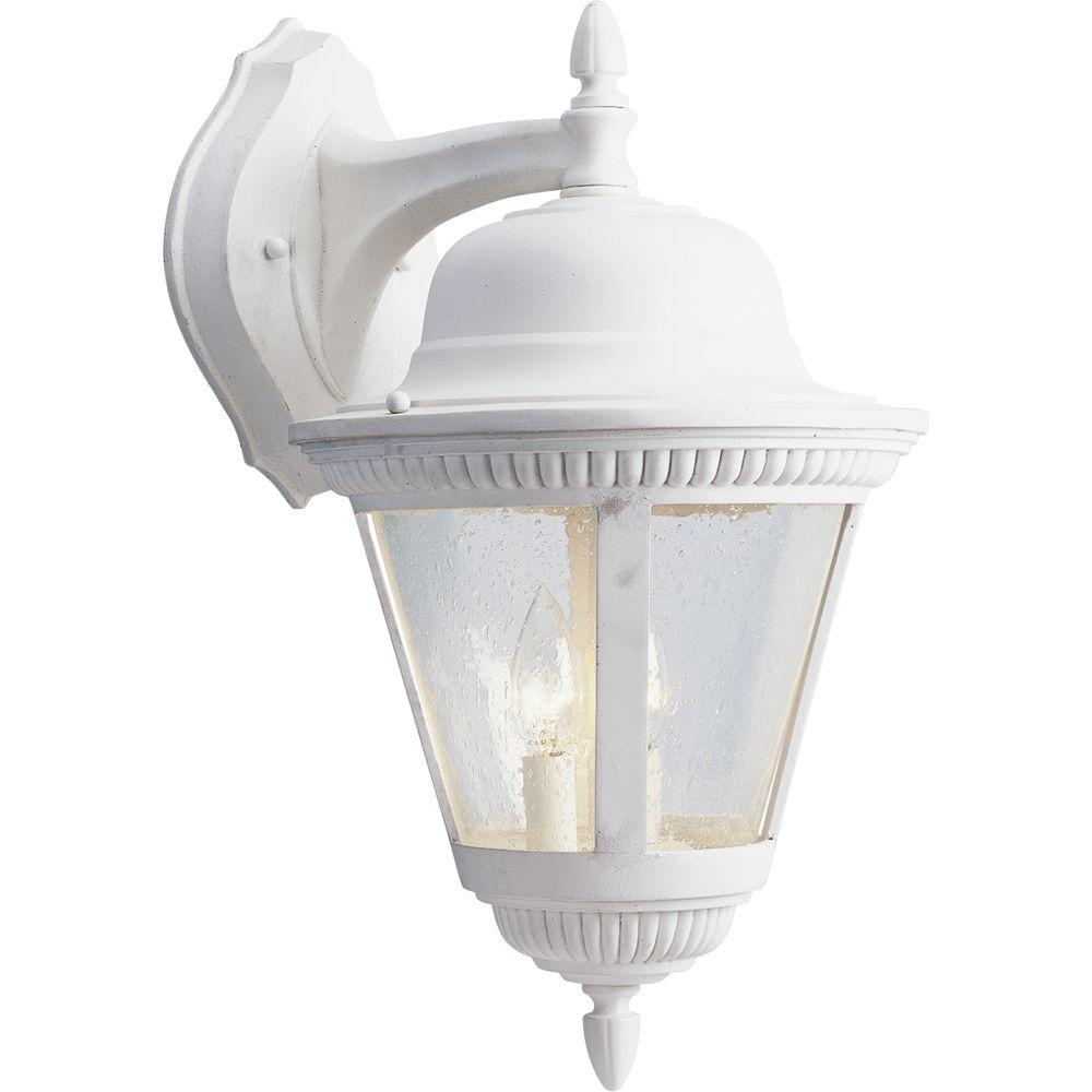 Progress Lighting Westport Collection 2-Light 18.75 in. Outdoor White Wall Lantern Sconce