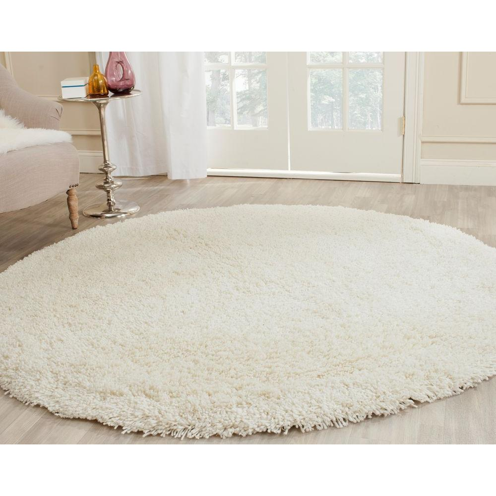 Bathroom Rugs Round: Safavieh Classic Shag White 8 Ft. X 8 Ft. Round Area Rug