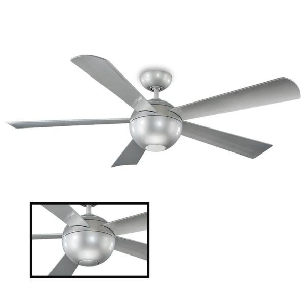 Orb 62 in. LED Indoor/Outdoor Automotive Silver 5-Blade Smart Ceiling Fan with 3000K Light Kit and Wall Control
