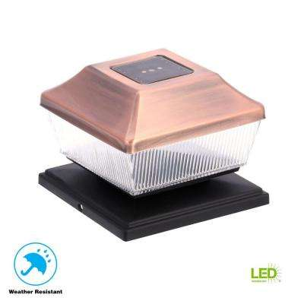 Solar Copper Outdoor Integrated LED Post Cap Deck Light (2-Pack)