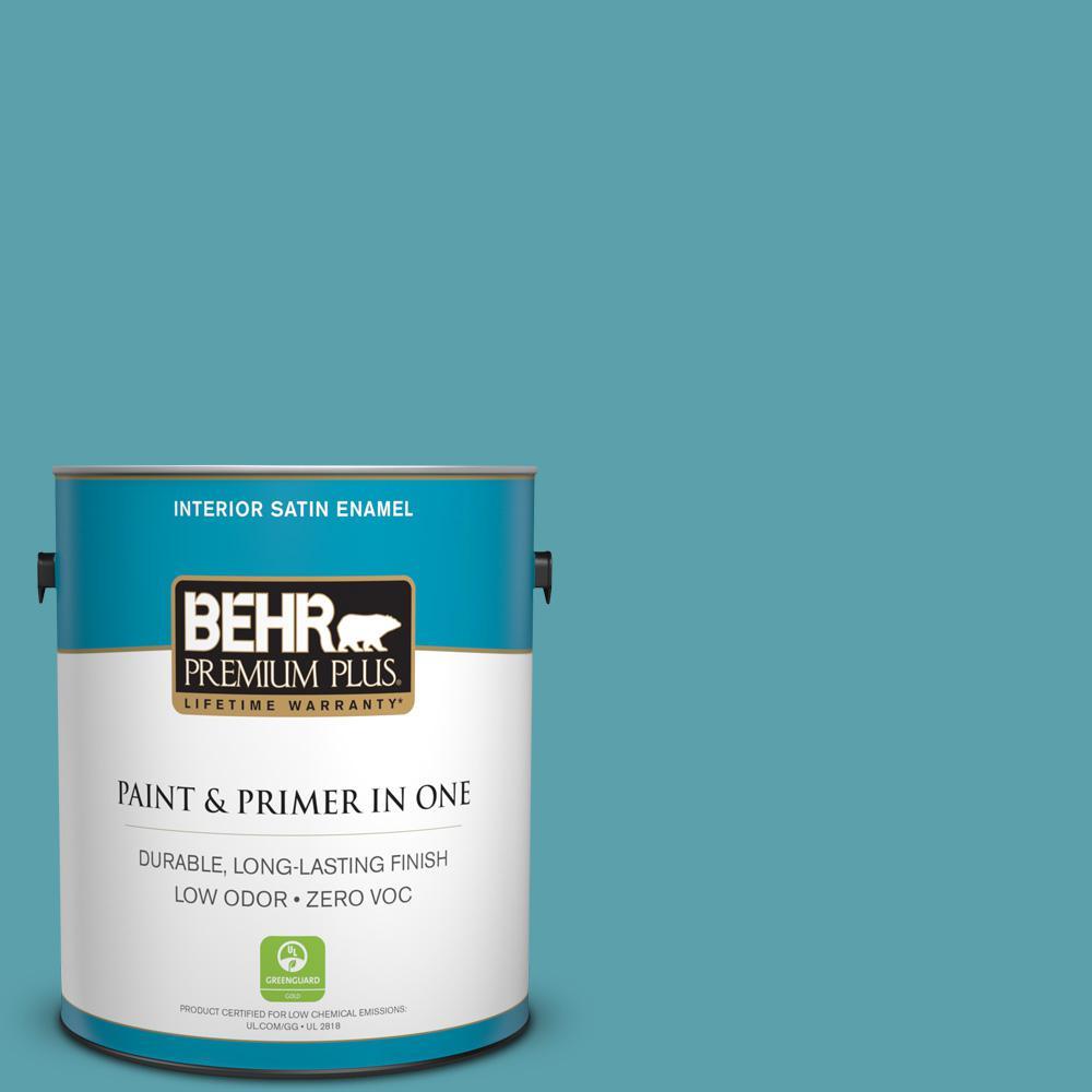 1 gal. #BIC-53 Turquoise Satin Enamel Zero VOC Interior Paint and