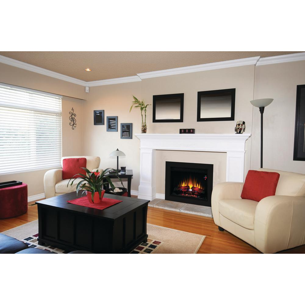 26 in electric fireplace insert with flush mount trim kit 85842