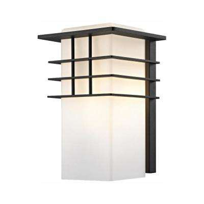 1-Light Forged Iron Outdoor Wall Lantern Sconce with Opal Glass