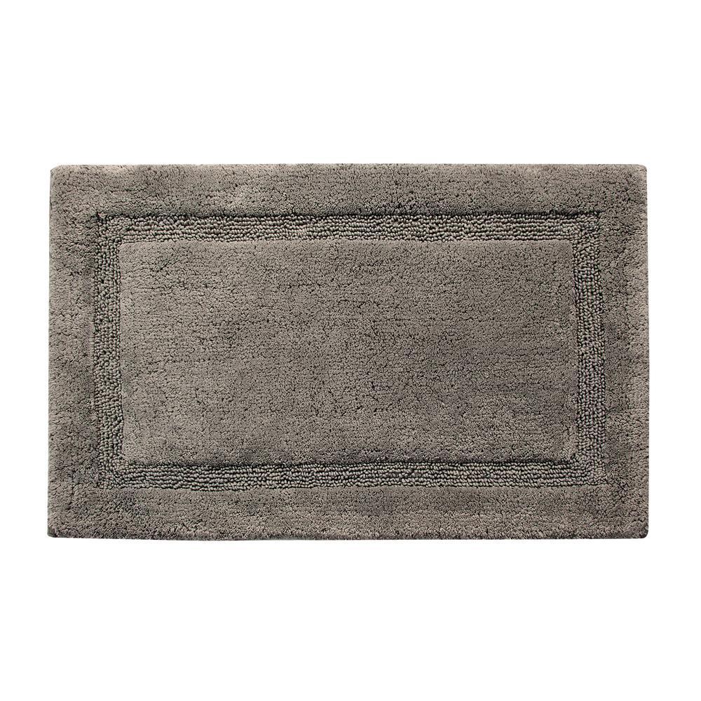 Regency 36 in. x 24 in. Cotton Latex Spray Non-Skid Backing Gray Textured Border Machine Washable Bath Rug