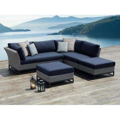 Torrance Brown Aluminum Outdoor Sectional Set with Olefin Blue Cushions