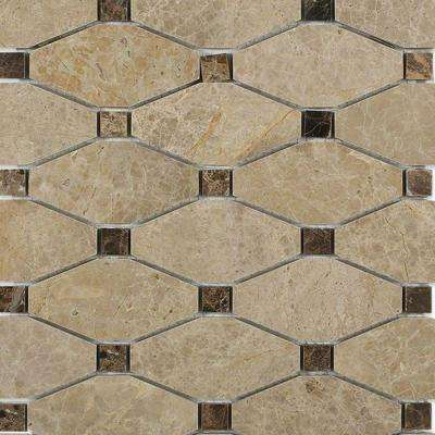 Diapson Light Emperador with Dark Emperador Dot Polished Marble Tile - 3 in. x 6 in. Tile Sample