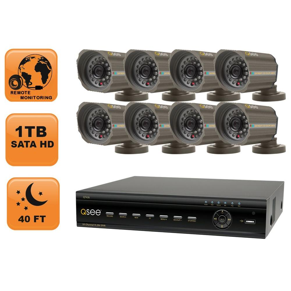 Q-SEE Advanced Series 16 CH 1 TB Hard Drive Surveillance System with (8) 420 TVL Cameras-DISCONTINUED