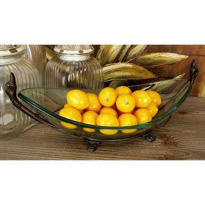 20 in. x 7 in. New Traditional Glass Bowl with Iron Squat Feet