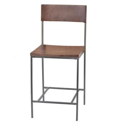Preston 24 in. Elm/Rustic Pewter Wood and Metal Counter Stool