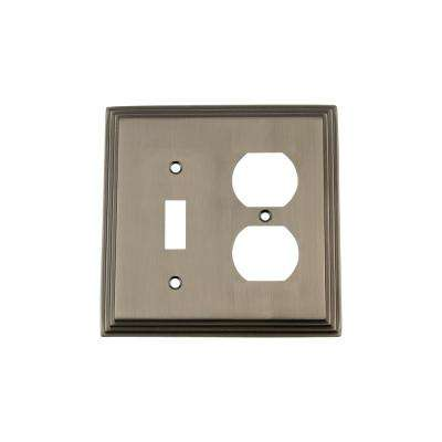 Deco Switch Plate with Toggle and Outlet in Antique Pewter