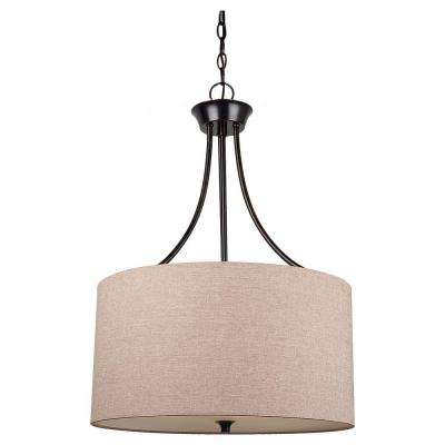 Stirling 19 in. W 3-Light Burnt Sienna Pendant with Beige Linen Drum Shade