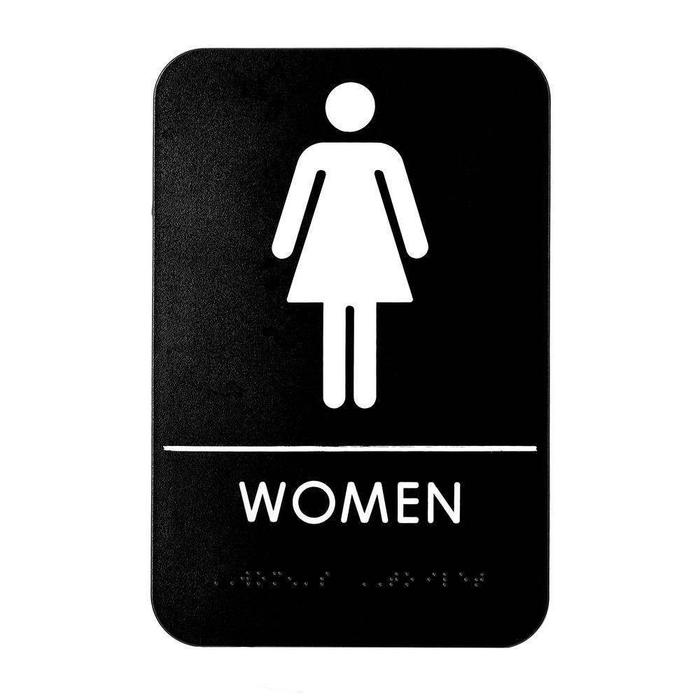 9 in. x 6 in. Women's Braille Restroom Sign