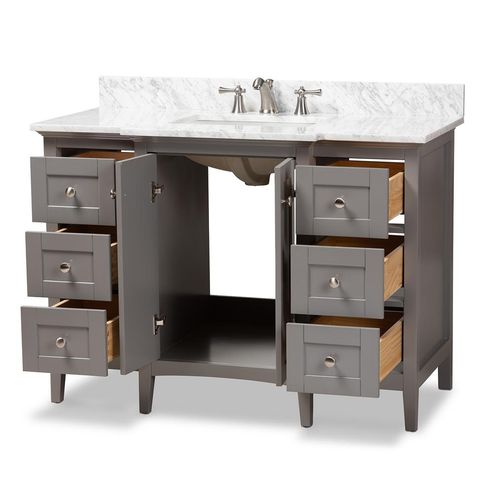 Baxton Studio Murray 48 in. W x 34.7 in. H Bath Vanity in Gray with Vanity Top in White with High Gloss White Basin