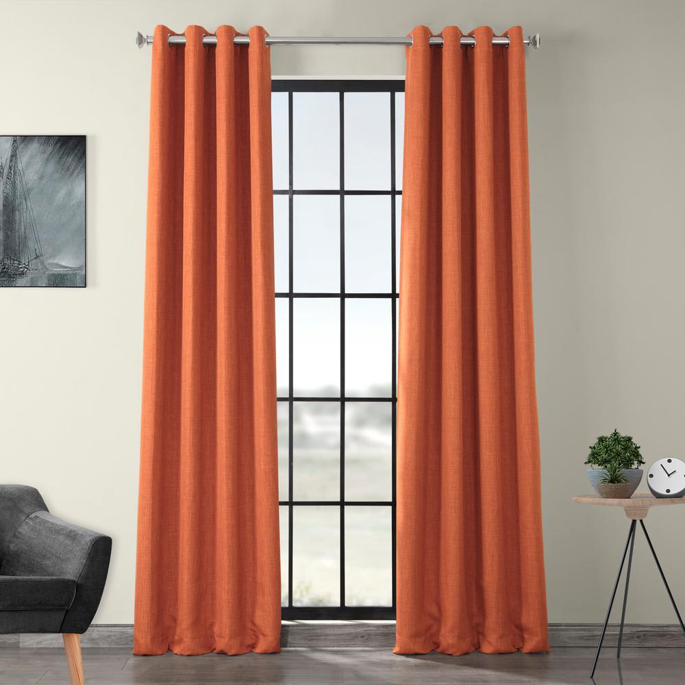 Desert Orange Faux Linen Grommet Blackout Curtain - 50 in. W x 96 in. L