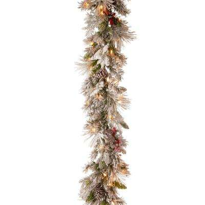 9 ft. Battery Operated Snowy Bedford Pine Garland with LED Lights