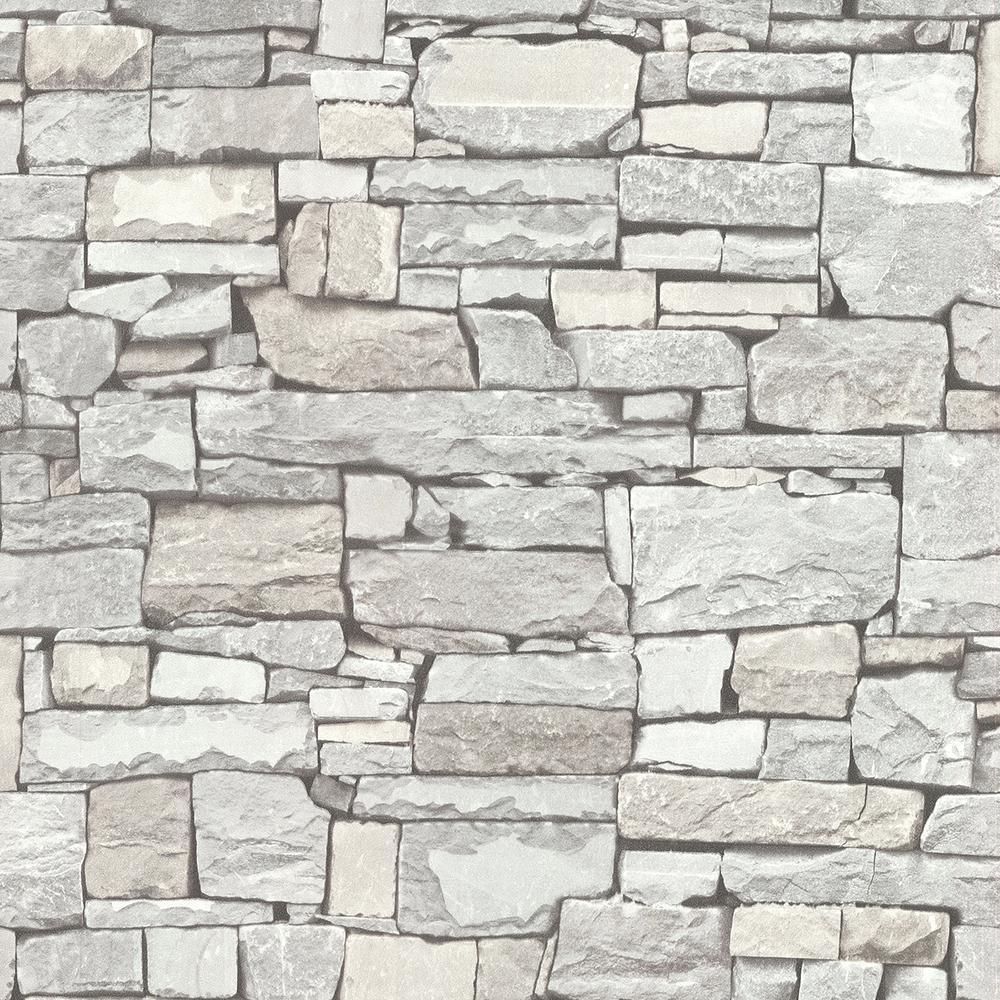 Advantage 56.4 sq. ft. Tallulah Grey Stone Wallpaper