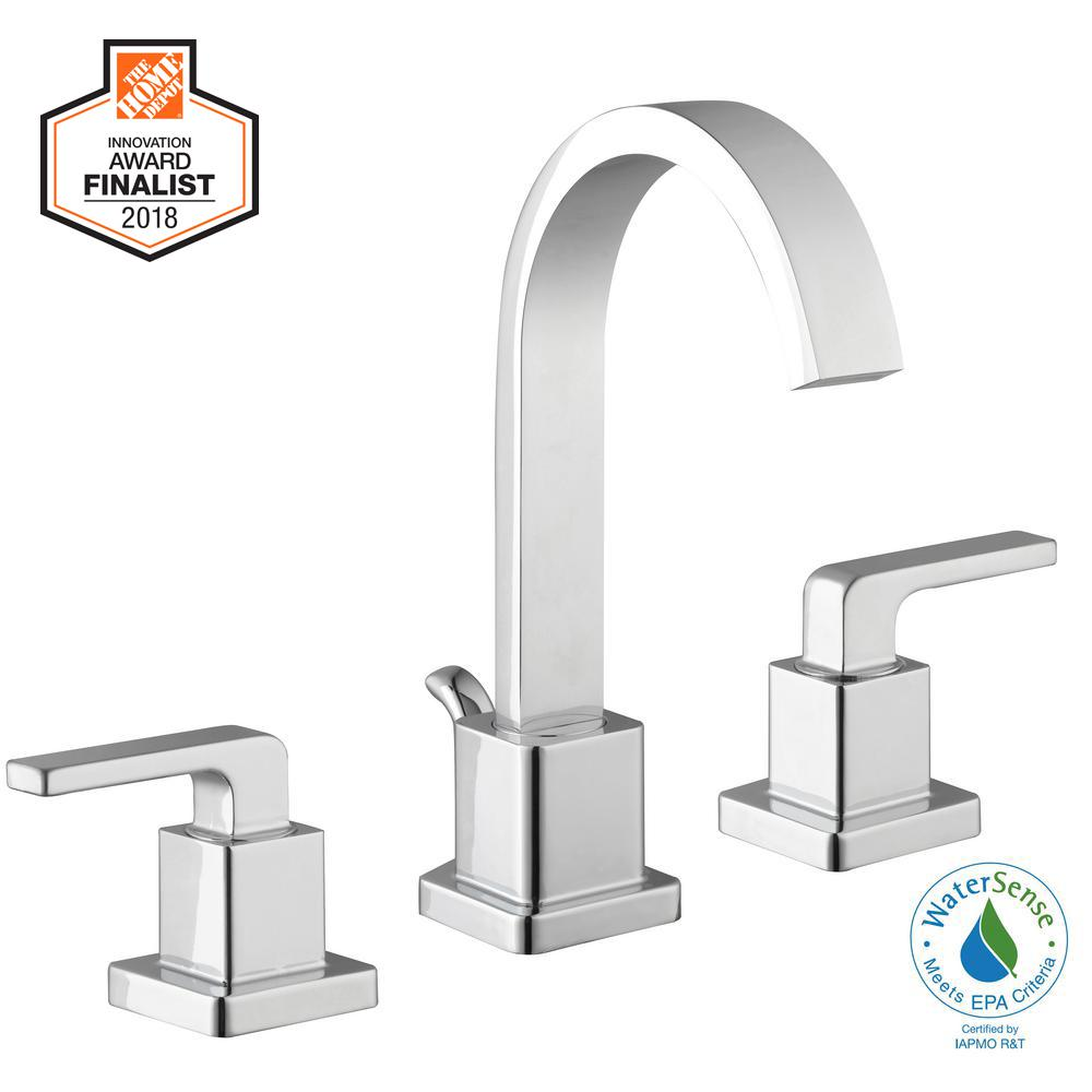 Glacier Bay Farrington 8 in. Widespread 2-Handle Hi-Arc Bathroom Faucet in Chrome