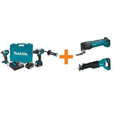 18V LXT Lithium-Ion BL Cordless Hammer Drill/Impact Driver Combo Kit w/BONUS 18V MultiTool and 18V Cordless Recipro Saw
