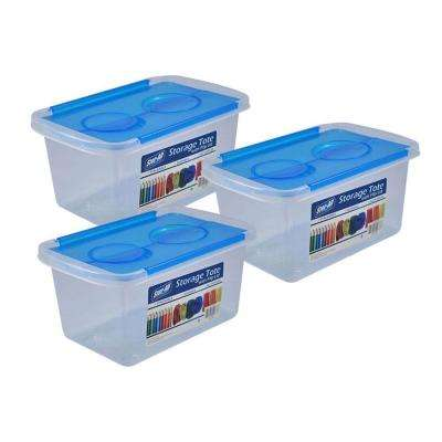 1.3 Gal. Storage Tote with Blue Flip Lid in Clear (3 - Pack)