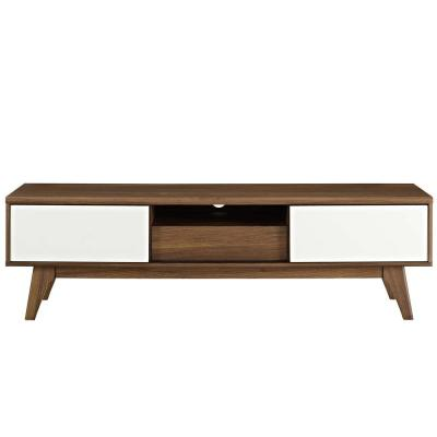 Envision 59 in. Walnut and White Wood TV Stand with 2 Drawer Fits TVs Up to 65 in. with Storage Doors