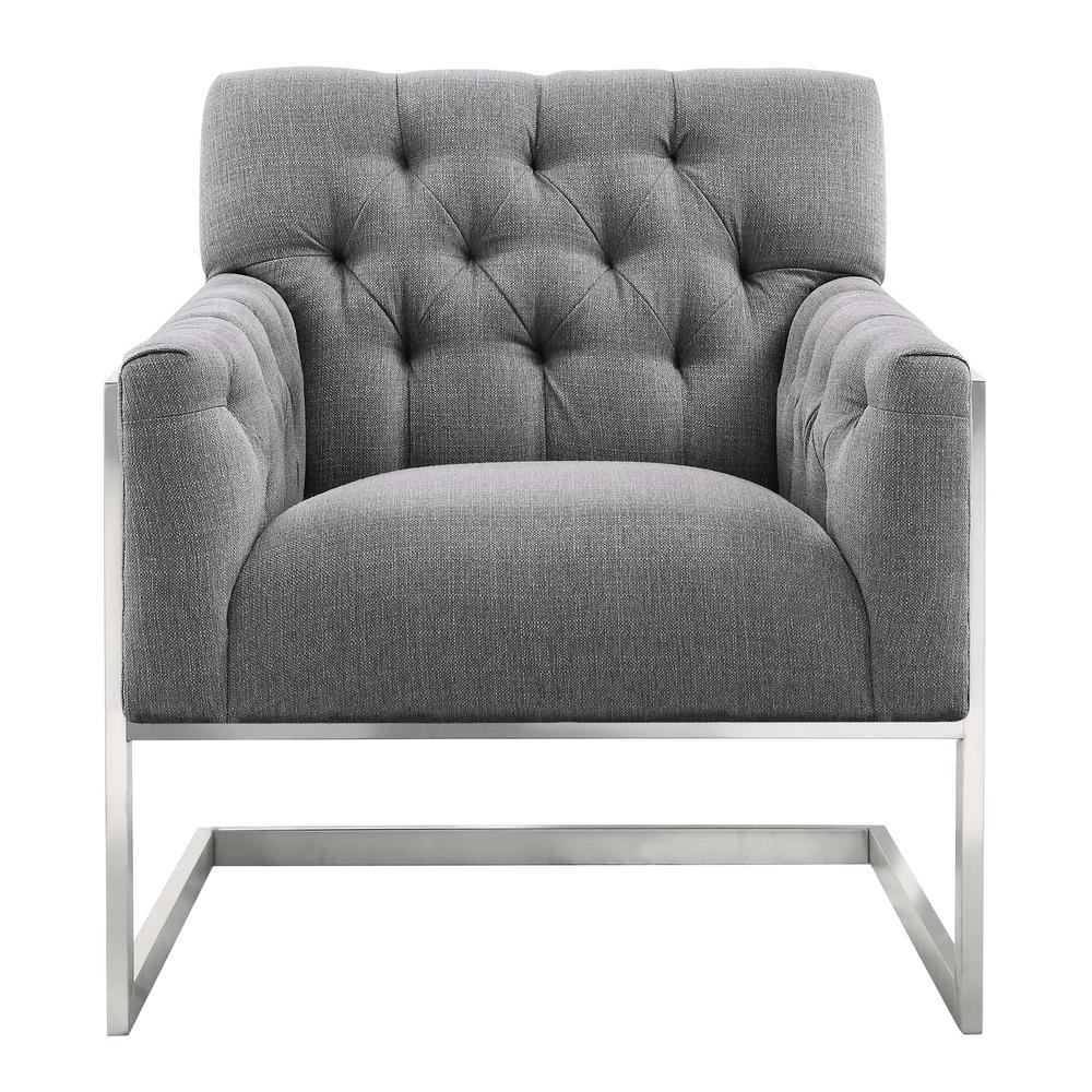 Armen Living Emily Grey Fabric Contemporary Accent Chair in Brushed Stainless