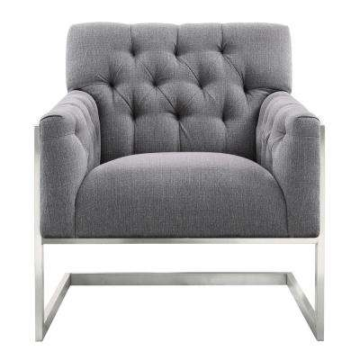 Armen Living Emily Grey Fabric Contemporary Accent Chair in Brushed Stainless Steel