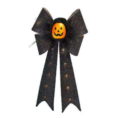 26 in. Battery-Operated Black Bow with Pumpkin