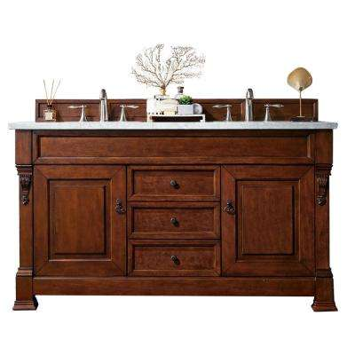 Brookfield 60 in. W Double Bath Vanity in Warm Cherry with Marble Vanity Top in Carrara White with White Basin