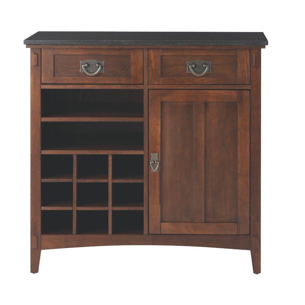 Dark Oak Wood Bar Cabinet with Wine Storage (36 in. W)