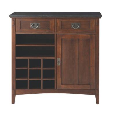 Artisan 36 in. 2-Drawer Wood Bar Cabinet in Dark Oak