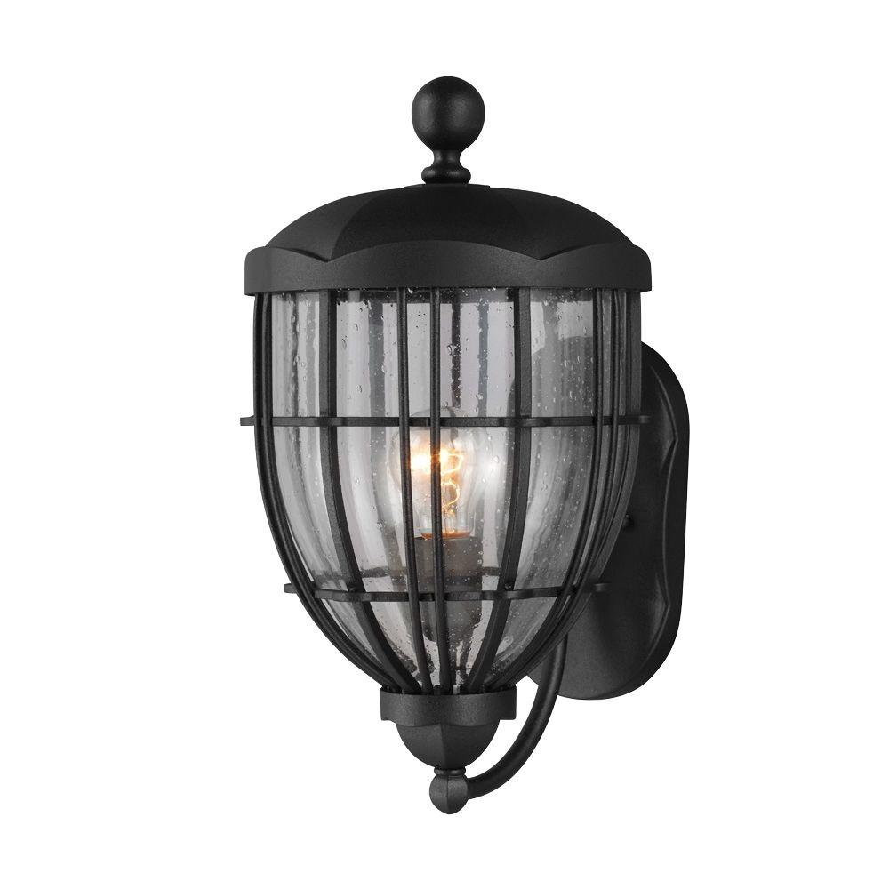 Feiss River North Collection 1-Light Textured Black Outdoor Wall Lantern