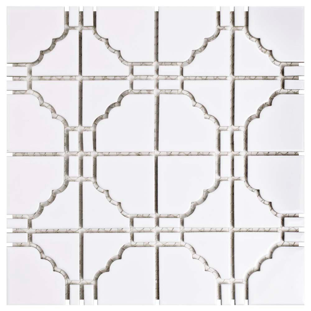 Merola Tile Osaka Glossy White 11-3/4 in. x 11-3/4 in. x 6 mm Porcelain Mosaic Tile