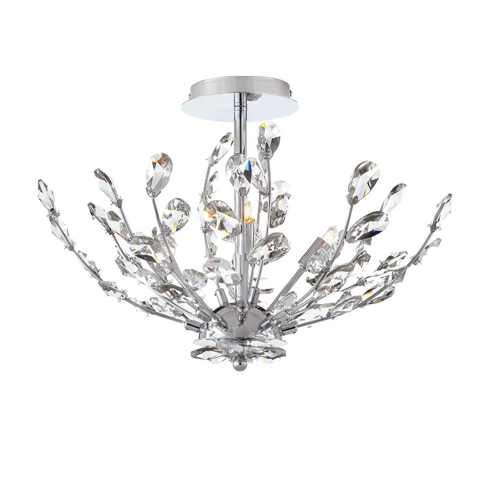 Home Decorators Collection 20 in. 4-Light Chrome Semi-Flush Mount with Crystal Glass Branches