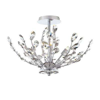 20 in. 4-Light Chrome Semi-Flush Mount with Crystal Glass Branches