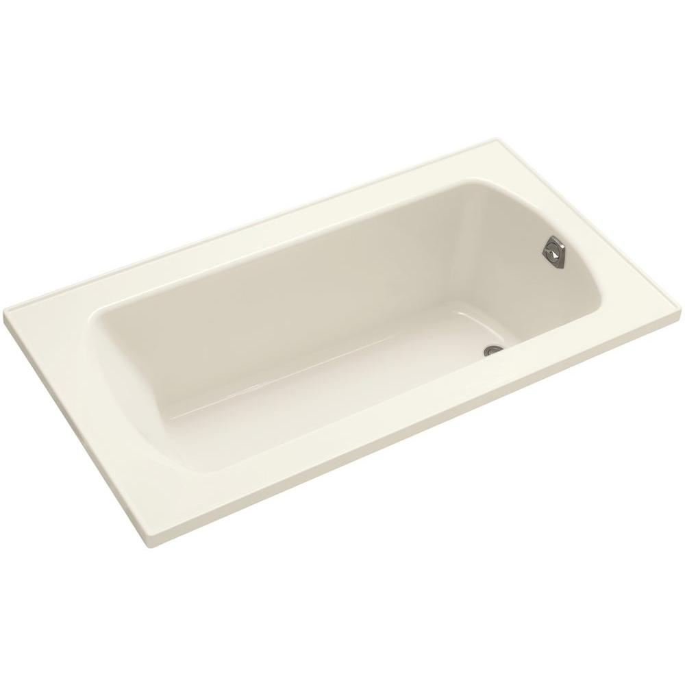 Lawson 5 ft. Rectangular Drop-in Reversible Drain Decked Bathtub in Biscuit