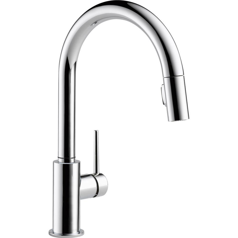 Delta Trinsic Single Handle Pull Down Sprayer Kitchen Faucet With Magnae Docking In Chrome
