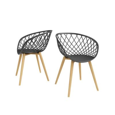 Kurv Black Arm Chair with Natural Legs (Set of 2)