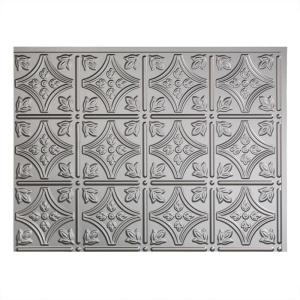 18.25 in. x 24.25 in. Argent Silver Traditional Style # 1 PVC Decorative Backsplash Panel