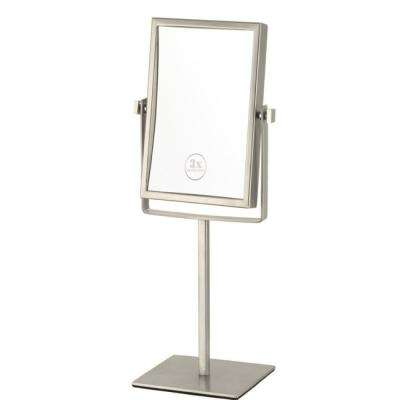 Glimmer 6.3 in. x 8.5 in. Free Standing LED 3x Rectangle Makeup Mirror in Satin Nickel