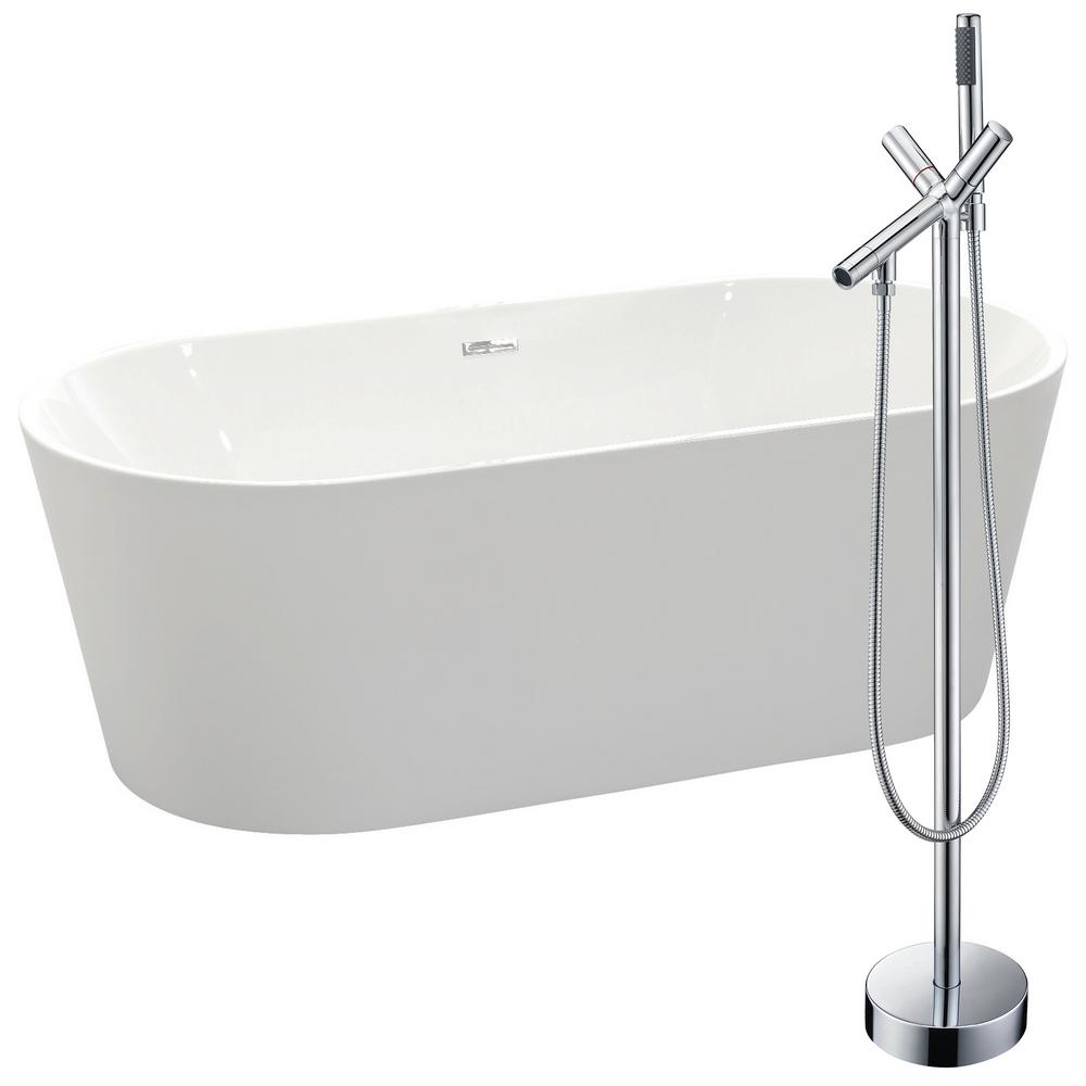 Chand 67 in. Acrylic Flatbottom Non-Whirlpool Bathtub in White with Havasu