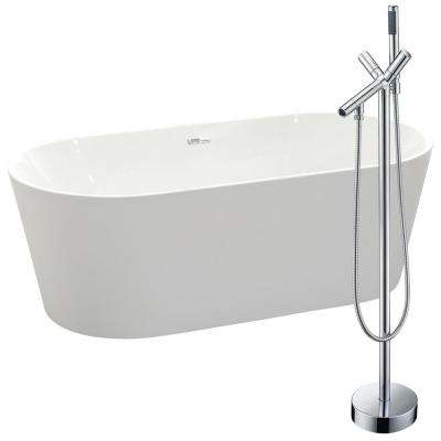 Chand 67 in. Acrylic Flatbottom Non-Whirlpool Bathtub in White with Havasu Faucet in Polished Chrome