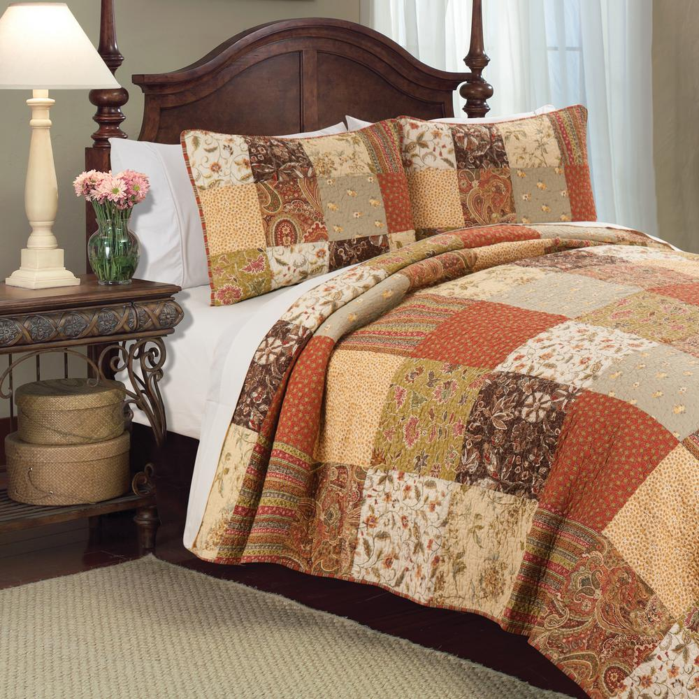 C & F Home Brown Crispin F/Q Quilt Set-82308.3FQSET - The Home Depot