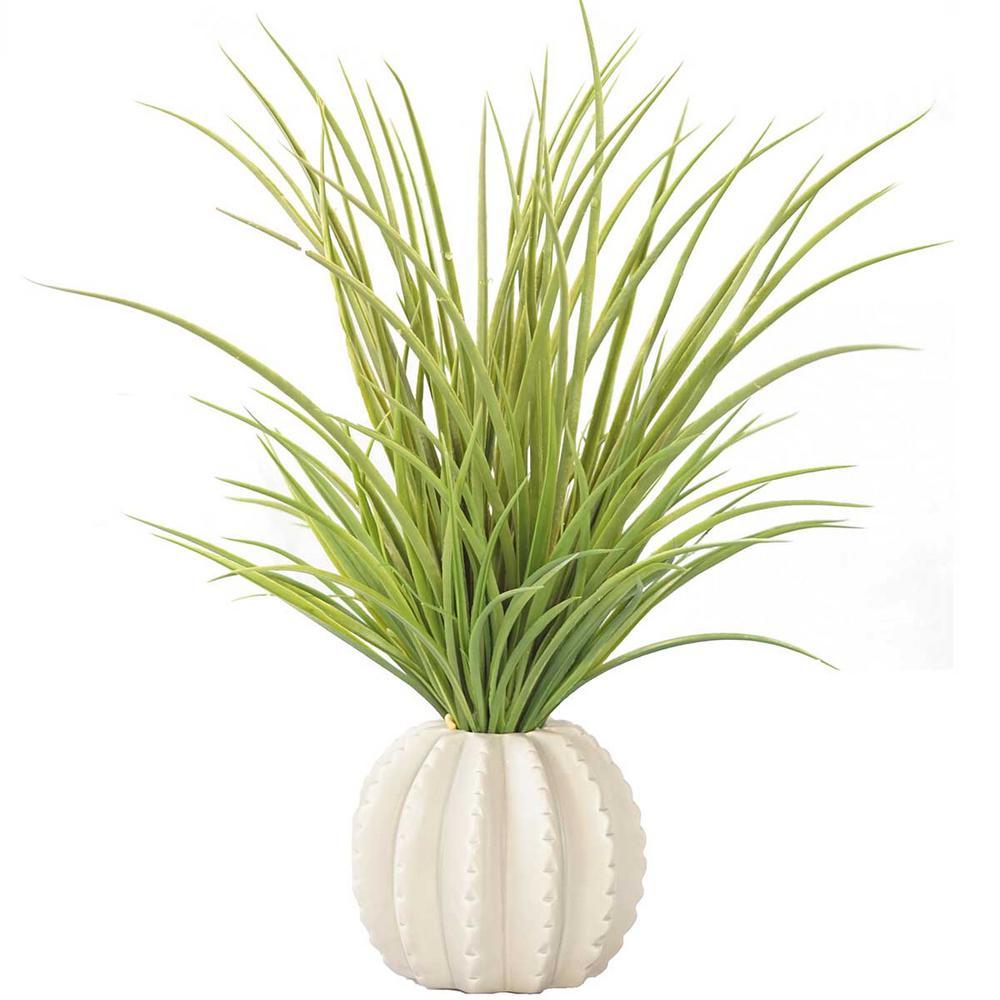 17 in. Tall Plastic Grass in Taupe Ceramic Vase