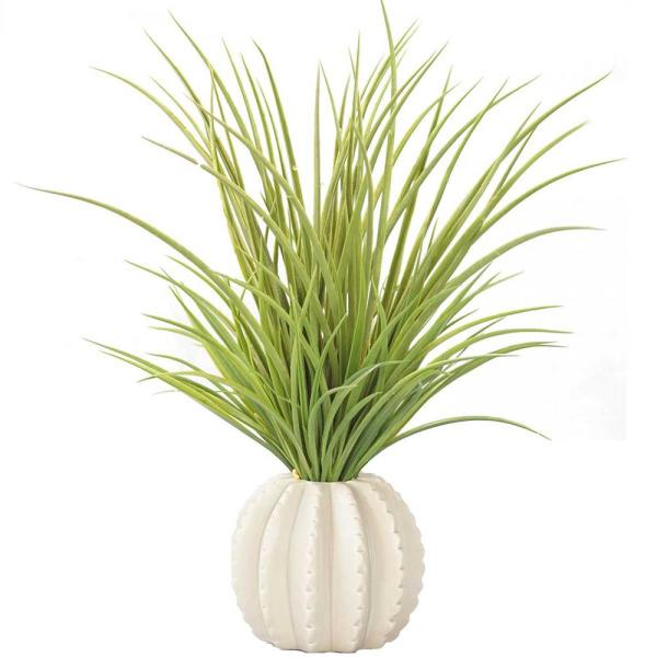 Laura Ashley 17 in. Tall Plastic Grass in Taupe Ceramic Vase