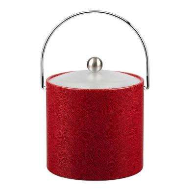 3 Qt. Rocks Red Ice Bucket with Bale Handle and Acrylic Lid with Metal Ball Knob